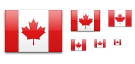 Speech bubble icon. Illustration of flag of Canada