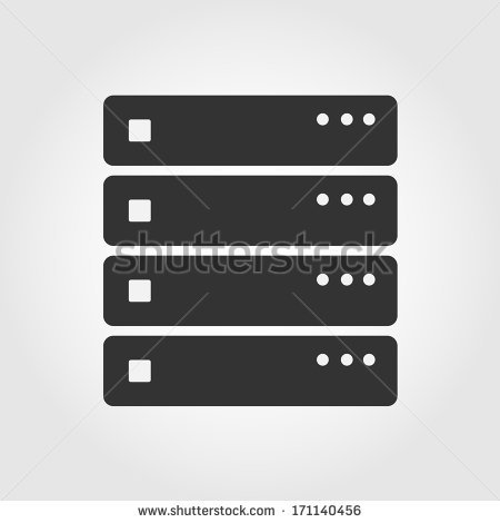 Server icon with dark grey outline and offset flat colors. Modern