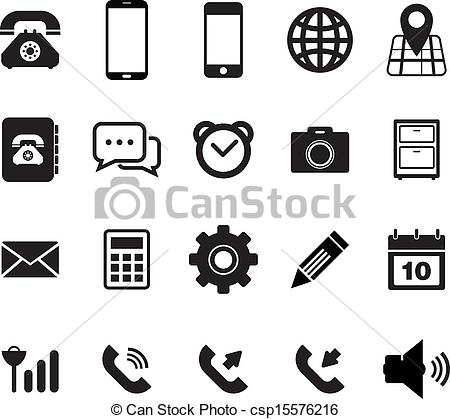 Phone icons set stock vector. Illustration of black, center - 35894699